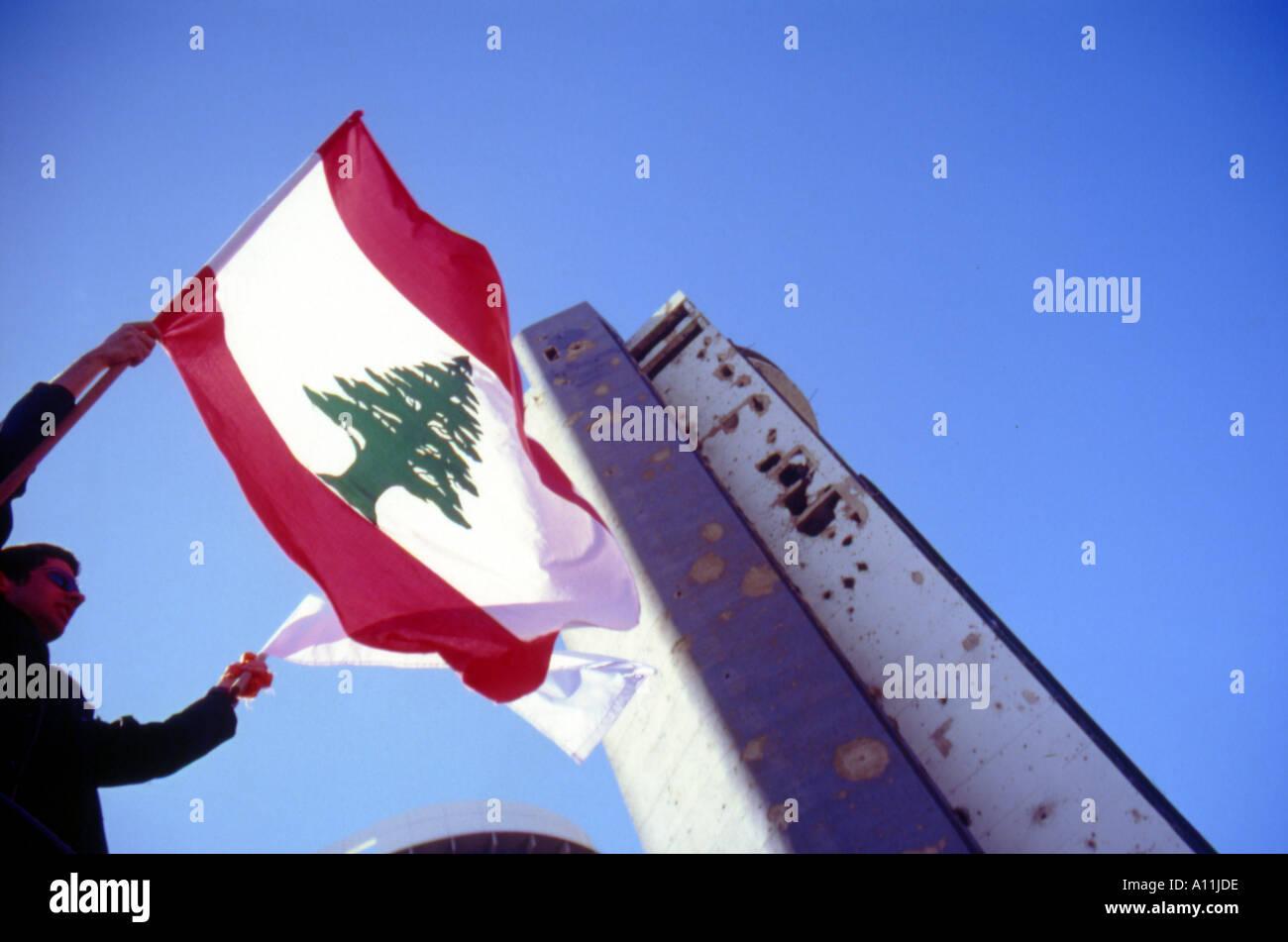 the flying cedar beirut lebanon Stock Photo