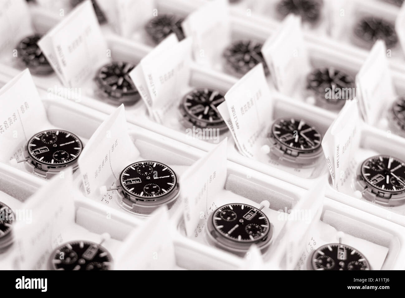 Clock dials watches waiting for quality control Stock Photo