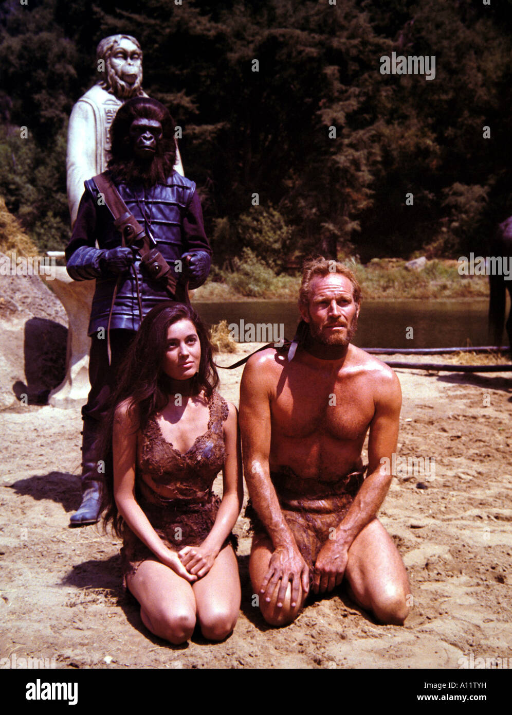 Planet Of The Apes Year 1968 Director Franklin Schaffner Charlton Heston Linda Harrison Based on the book by Pierre - Stock Image