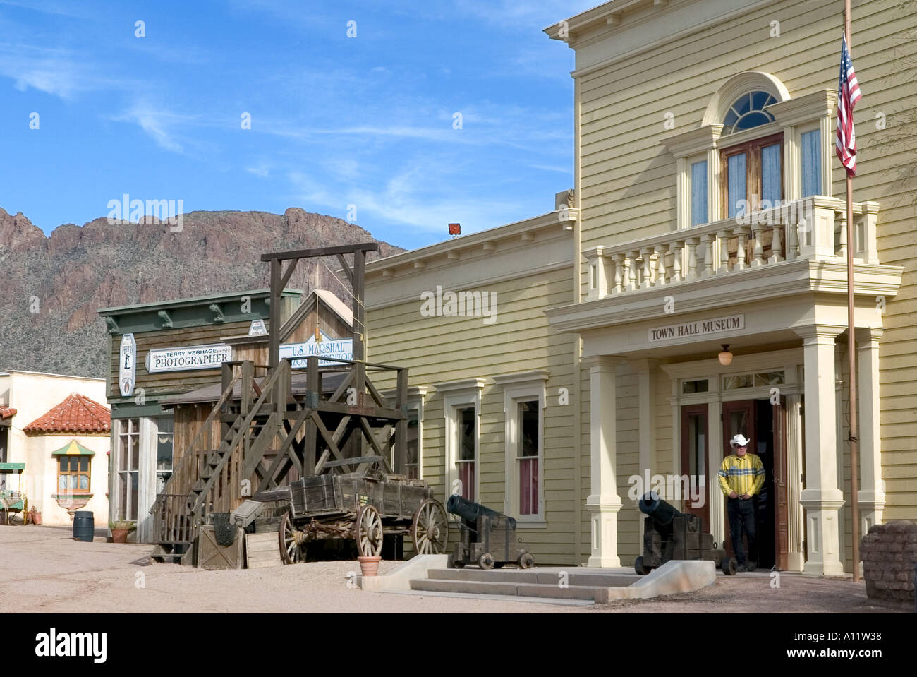 Town Hall museum and gallows at at Old Tucson Studios - Stock Image