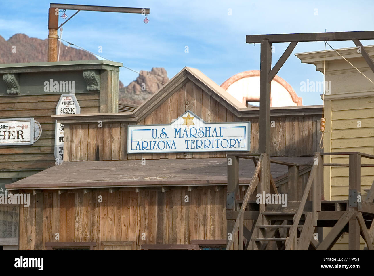 Gallows and replica buildings at Old Tucson Studios - Stock Image