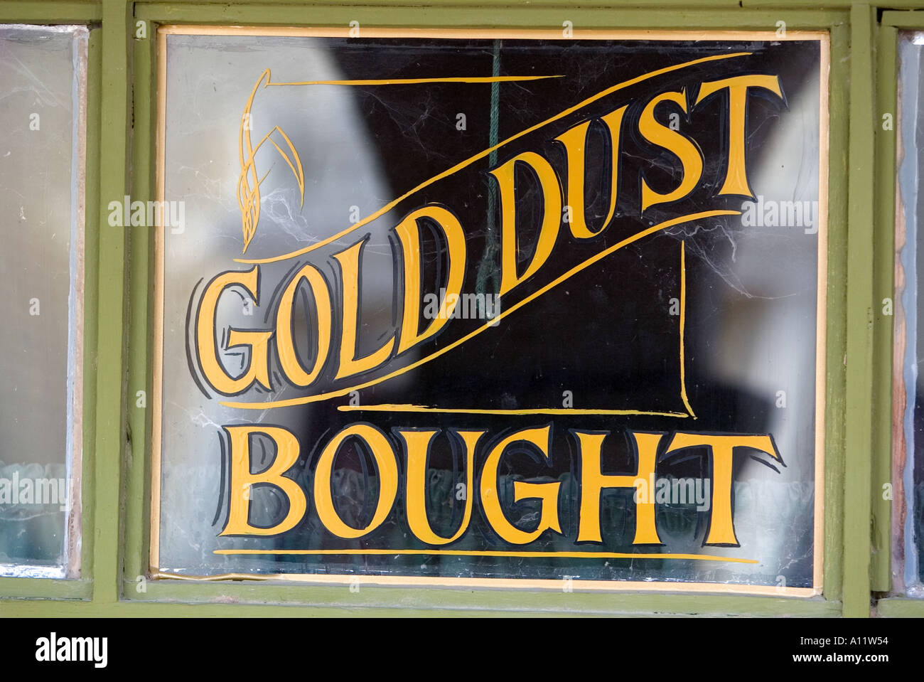 Gold dust bought old western sign at Old Tucson Studios Stock Photo