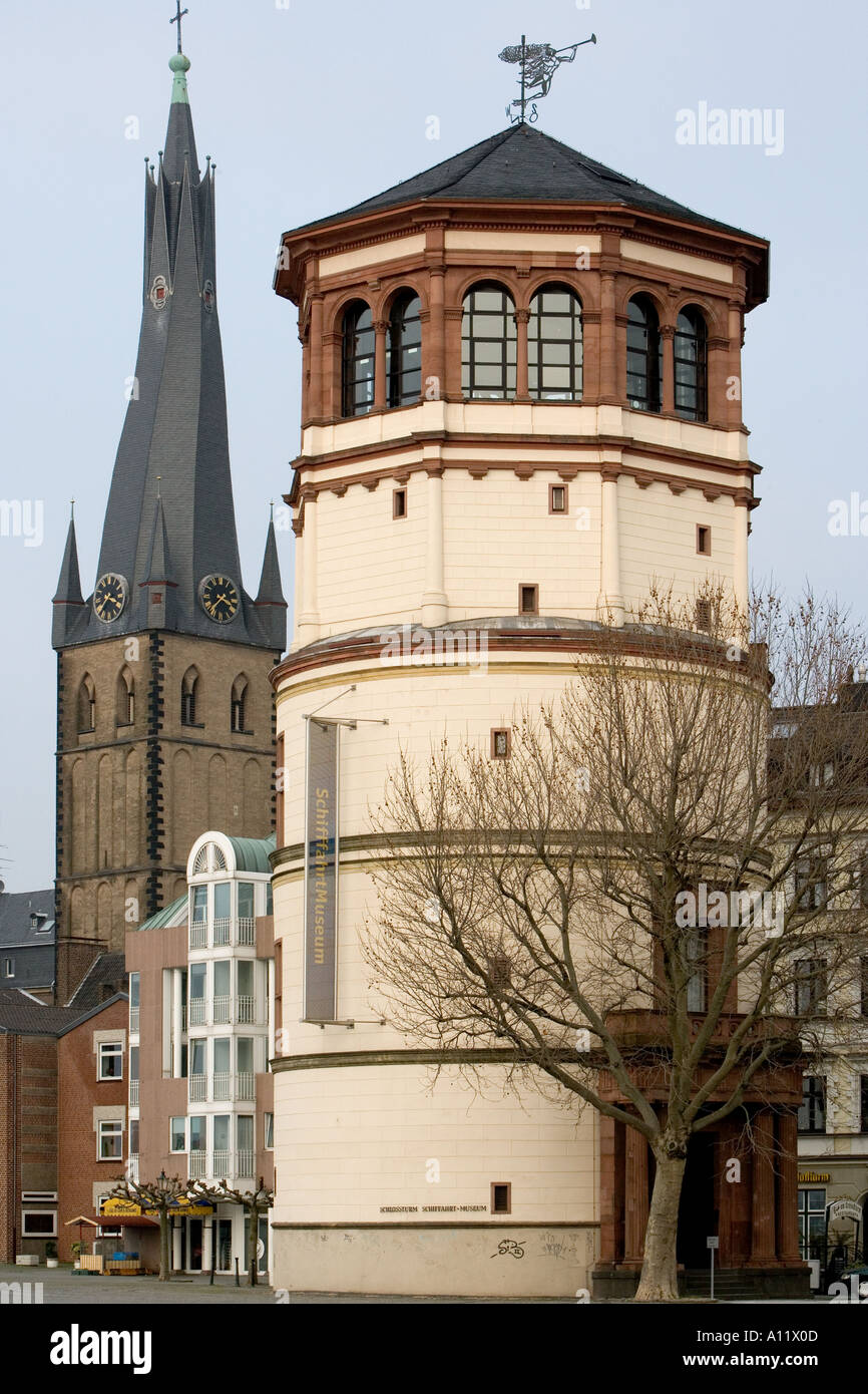 SchiffahrtMuseum shipping museum in the Old Town Dusseldorf Germany with ST LAMBERTUS BASILICA behind Stock Photo