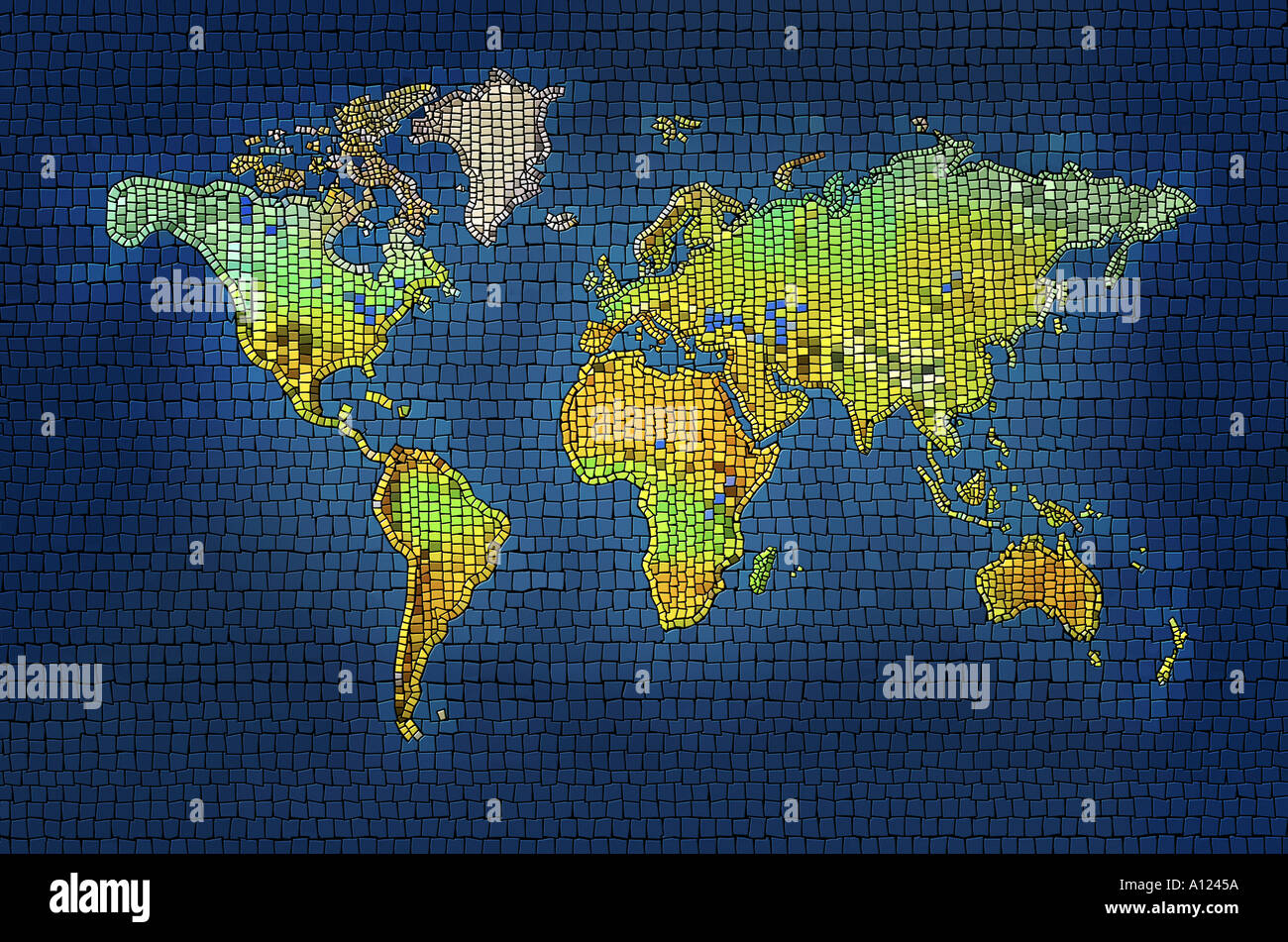 Mosiac map of the world - Stock Image