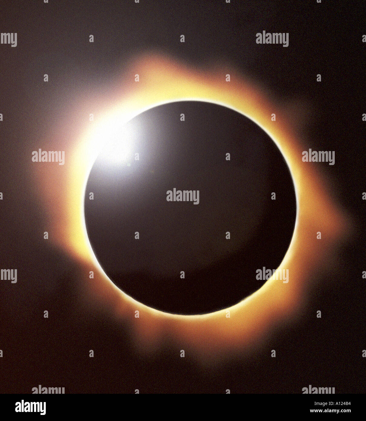 Total eclipse of the sun showing diamond ring effect - Stock Image