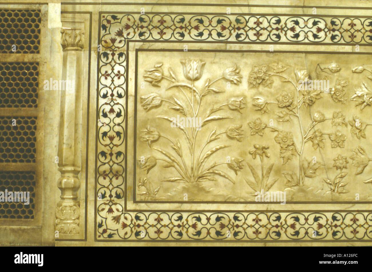Marble work detail, Taj Mahal, Agra, Uttar Pradesh, India Stock ...