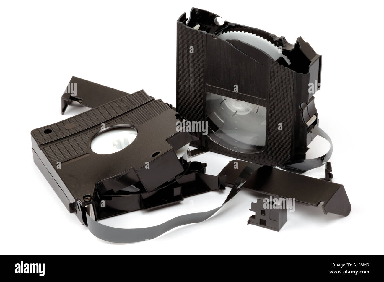 Broken video cassette tape - Stock Image