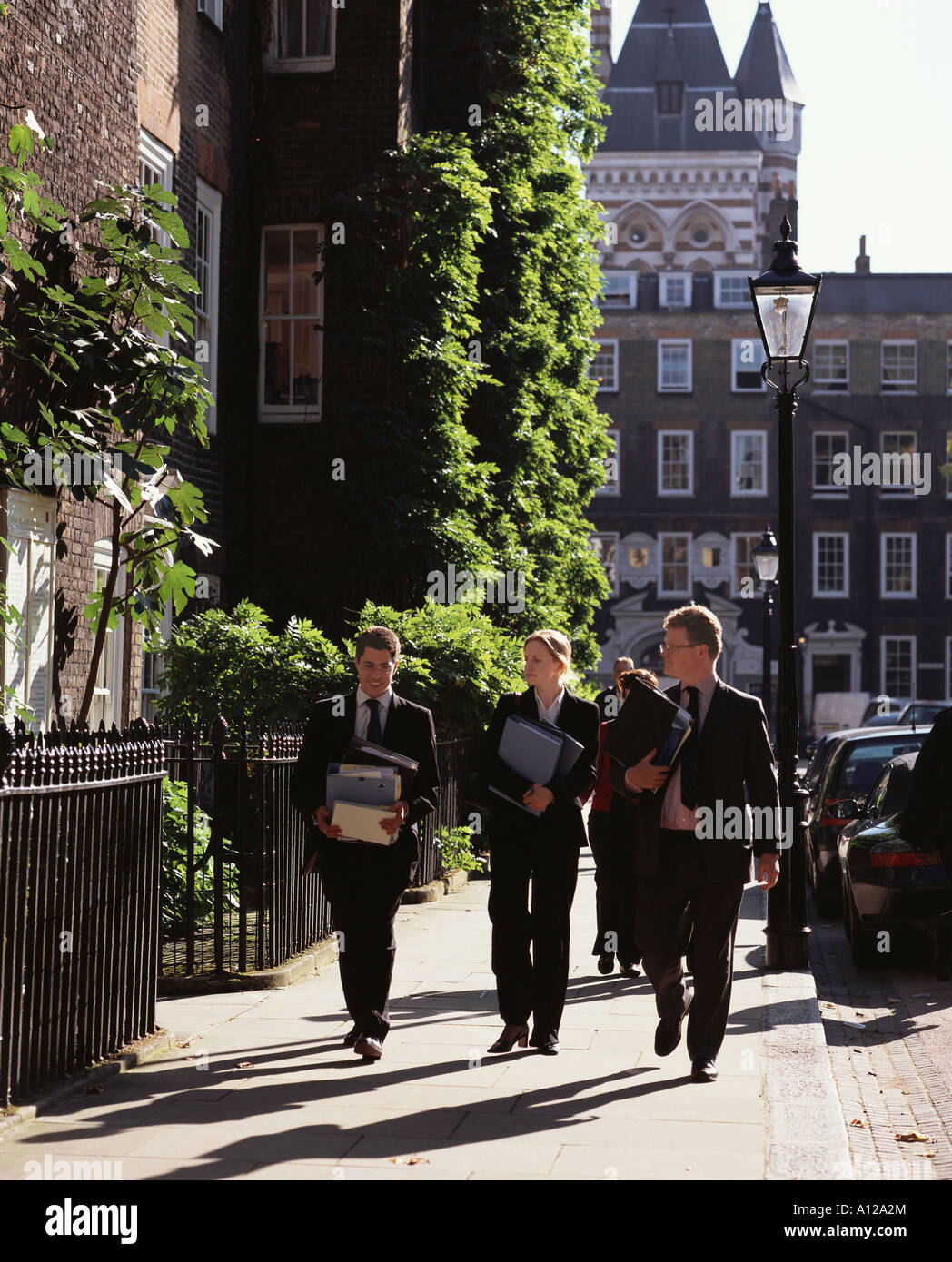 Barristers going to court Lincoln's Inn Fields London - Stock Image