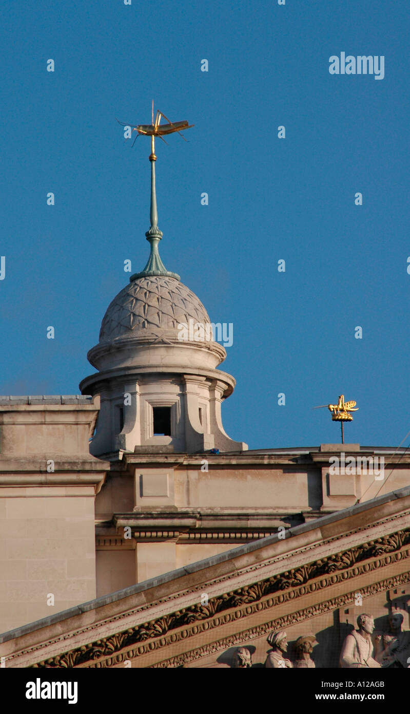 Domed cupola or bell tower on the top of the Royal Exchange. - Stock Image