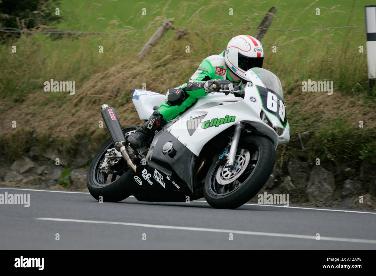 Darren Gilpin 69 on his Yamaha 400 Dundrod 150 Ulster Grand Prix practice bike week Dundrod road circuit northern ireland - Stock Image