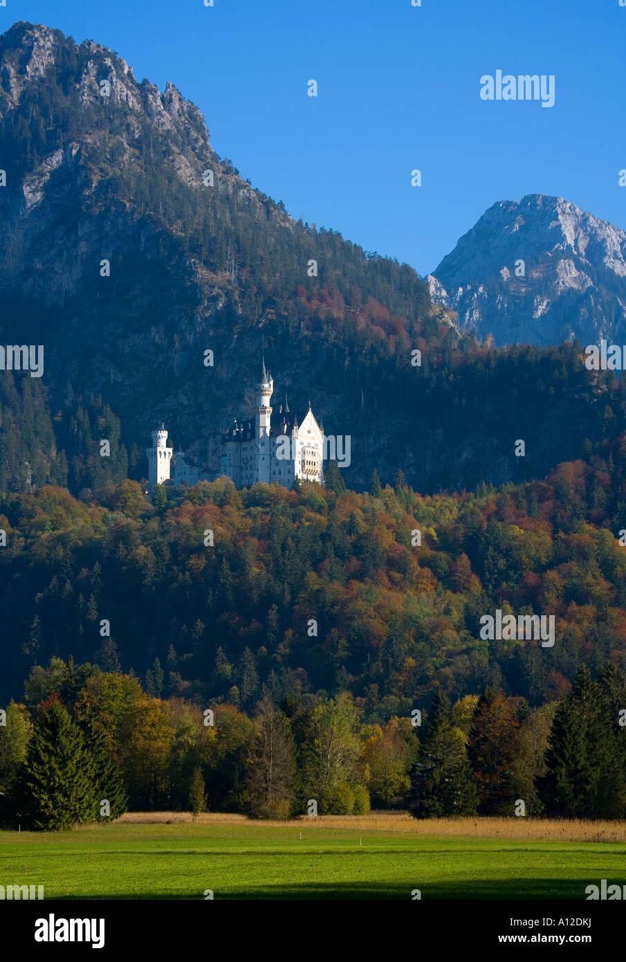 Neuschwanstein Castle at fall Bavaria Germany Stock Photo