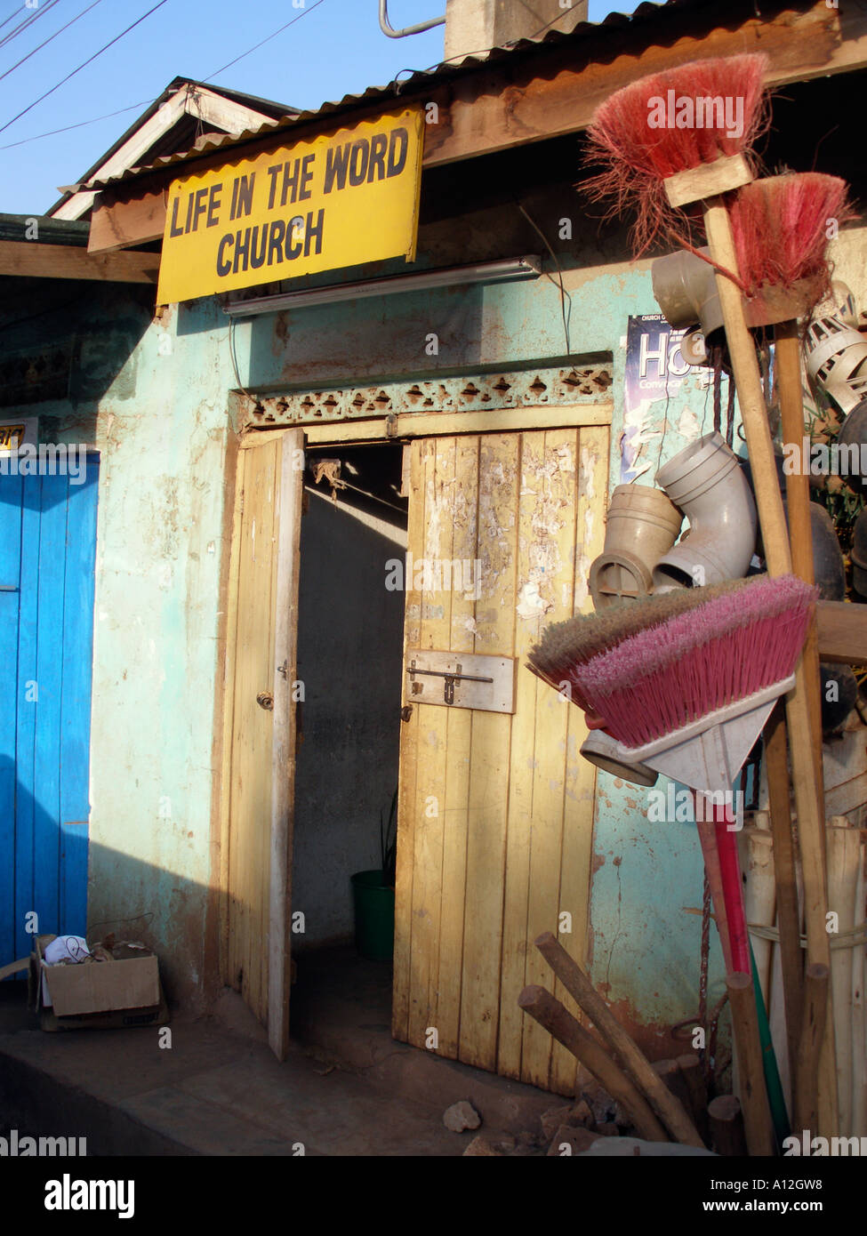 Life in the Word pentecostal church in a slum area of Kampala, Uganda - Stock Image