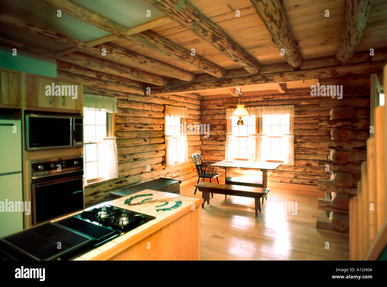 Pittsburgh PA ,USA, American Single Family House, Log Wood House, Interior  Kitchen, New Build Homes