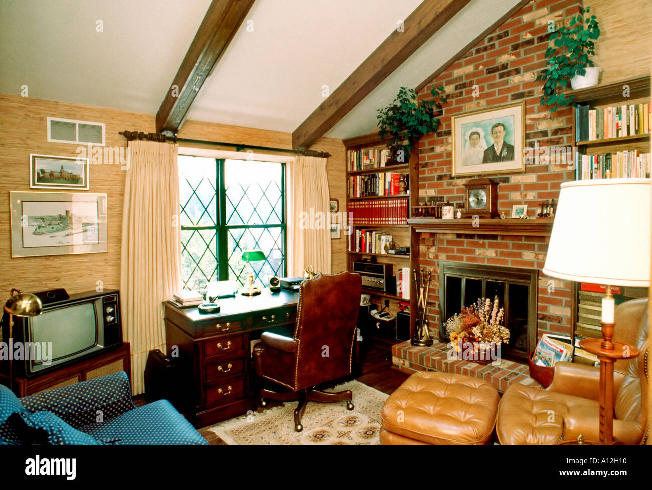family home office. USA American Single Family House Interior Den With Fireplace \ Home Office I