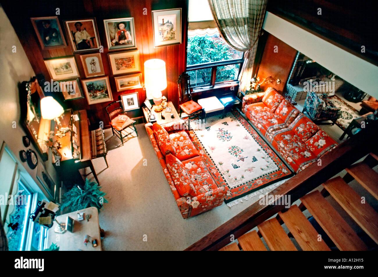Pittsburgh, PA, USA American Single Family House, Interior Open Living Room, High Angle, suburban house Stock Photo