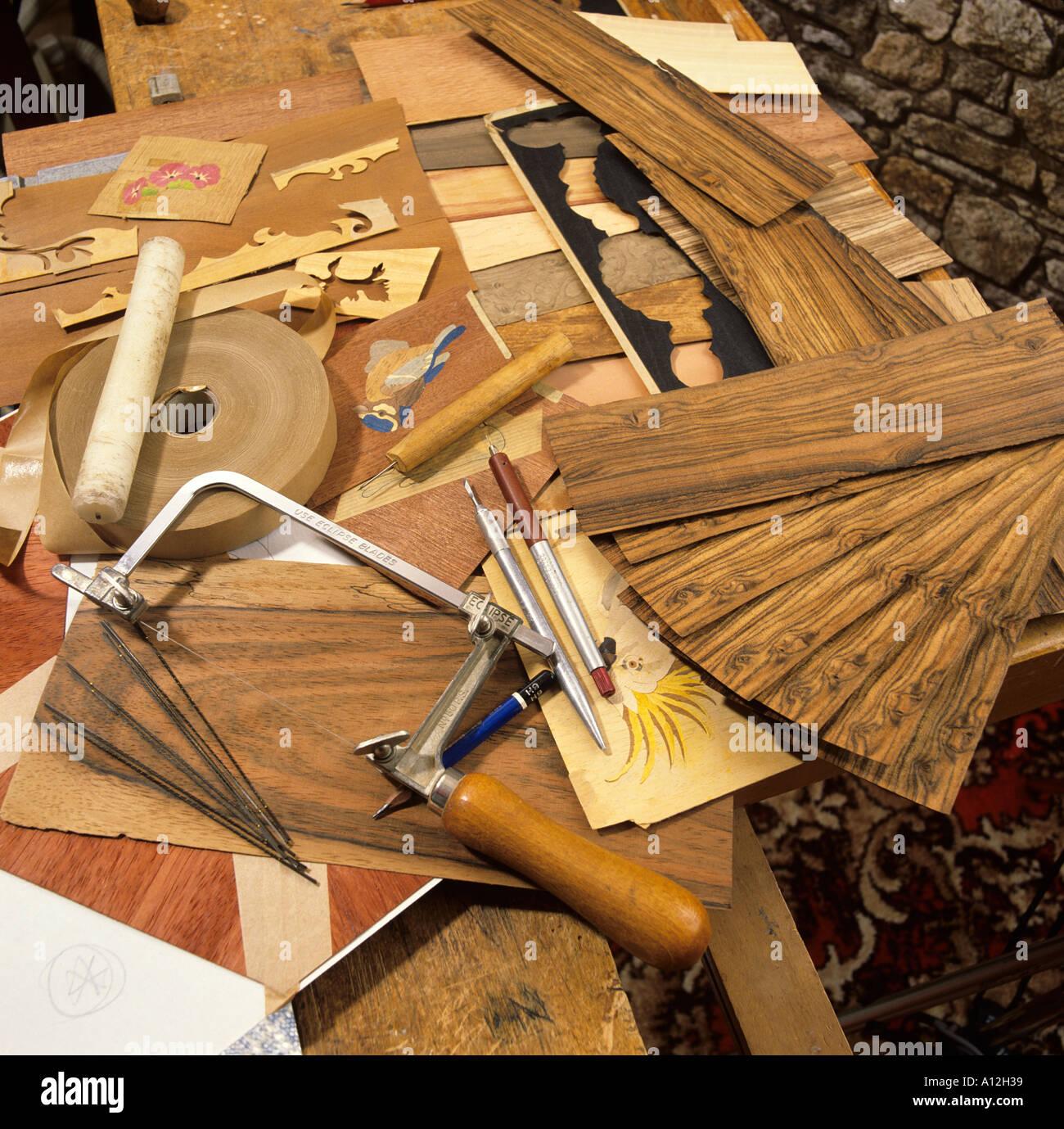 Marquetry  tools Stock Photo