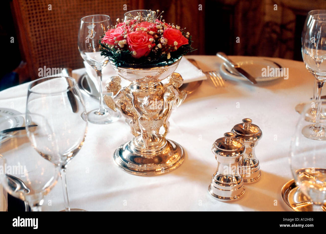 Paris France French Haute Cuisine Restaurant Detail Table Setting in u00275 Star & Fancy Restaurant Interior Stock Photos u0026 Fancy Restaurant Interior ...