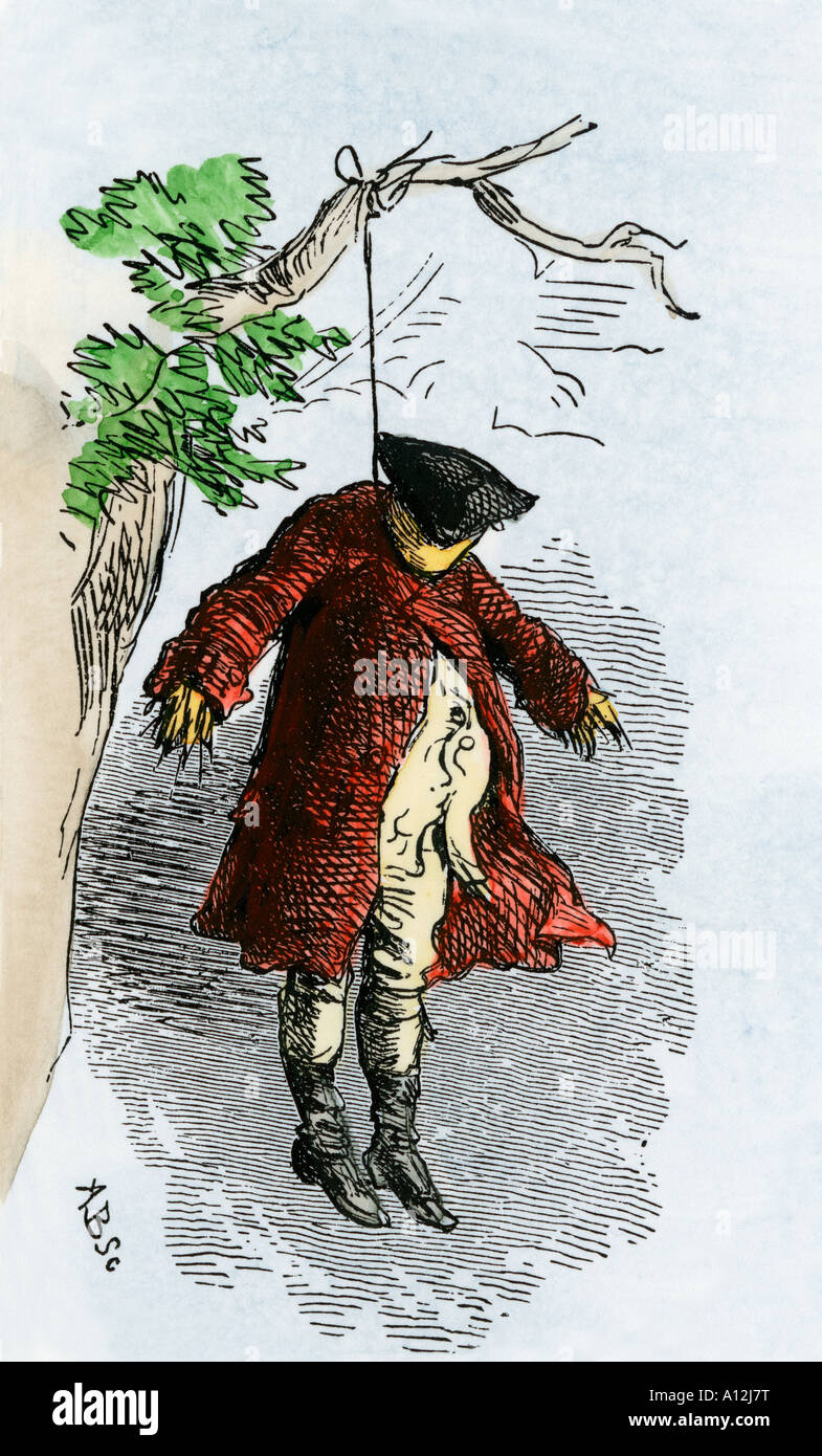 Effigy of a Stamp Act official hung in effigy by protesting colonials 1765. Hand-colored woodcut - Stock Image