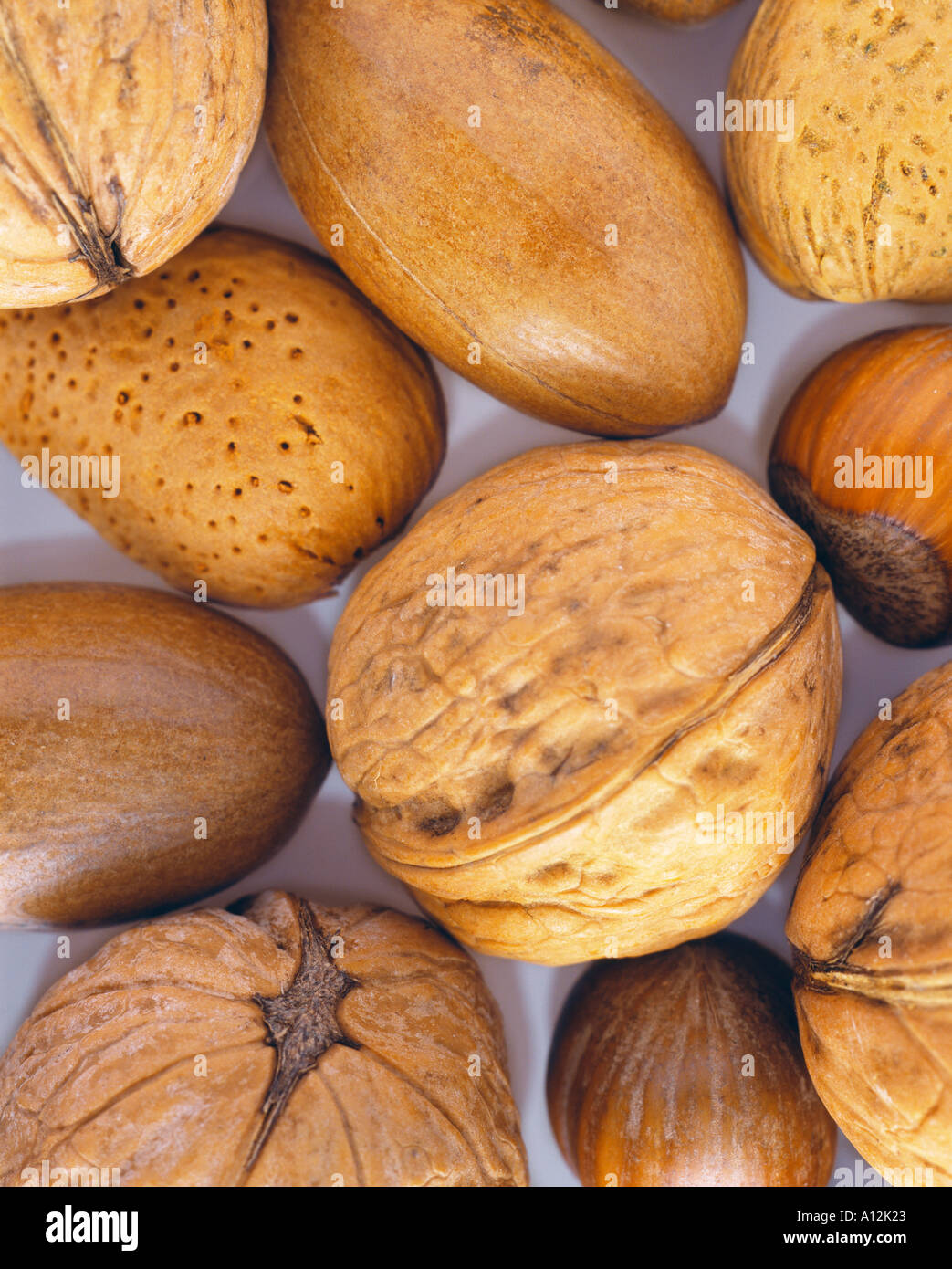 mixed shelled nuts - Stock Image