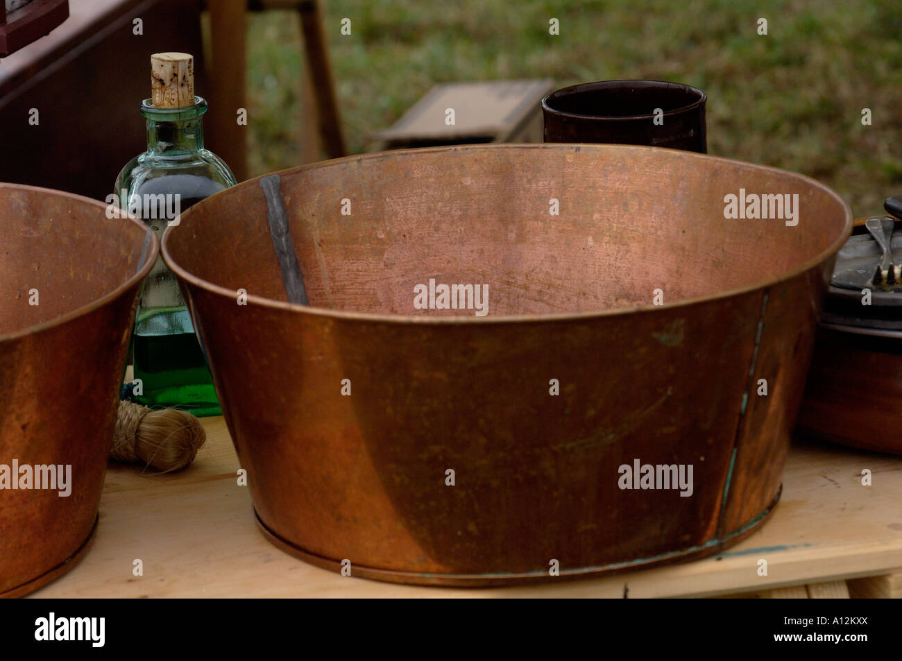 Copper pan at a Continental Army camp reenactment on Yorktown battlefield Virginia - Stock Image