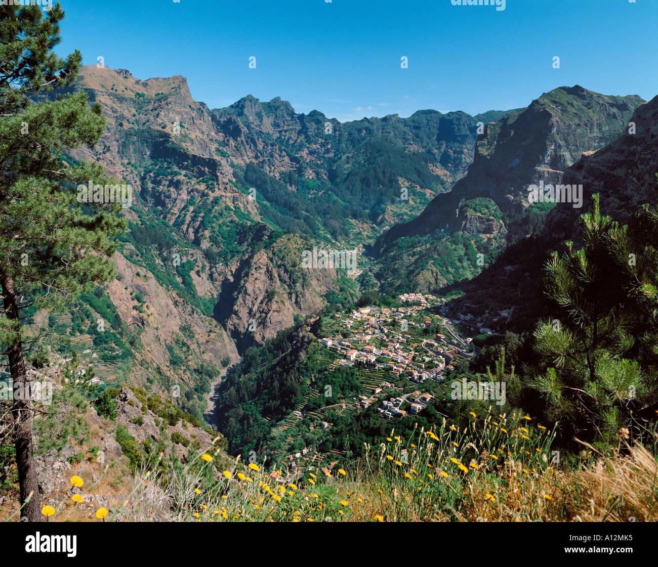 Madeira, Portugal, the Curral das Freiras village seen from Eira do Serrado viewpoint - Stock Image