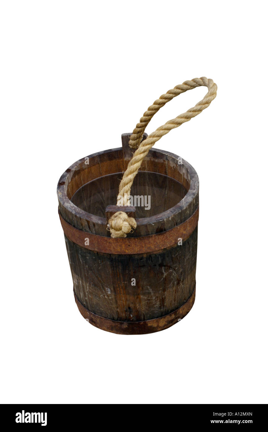 Wooden water bucket in a Continental Army camp reenactment at Yorktown battlefield Virginia - Stock Image