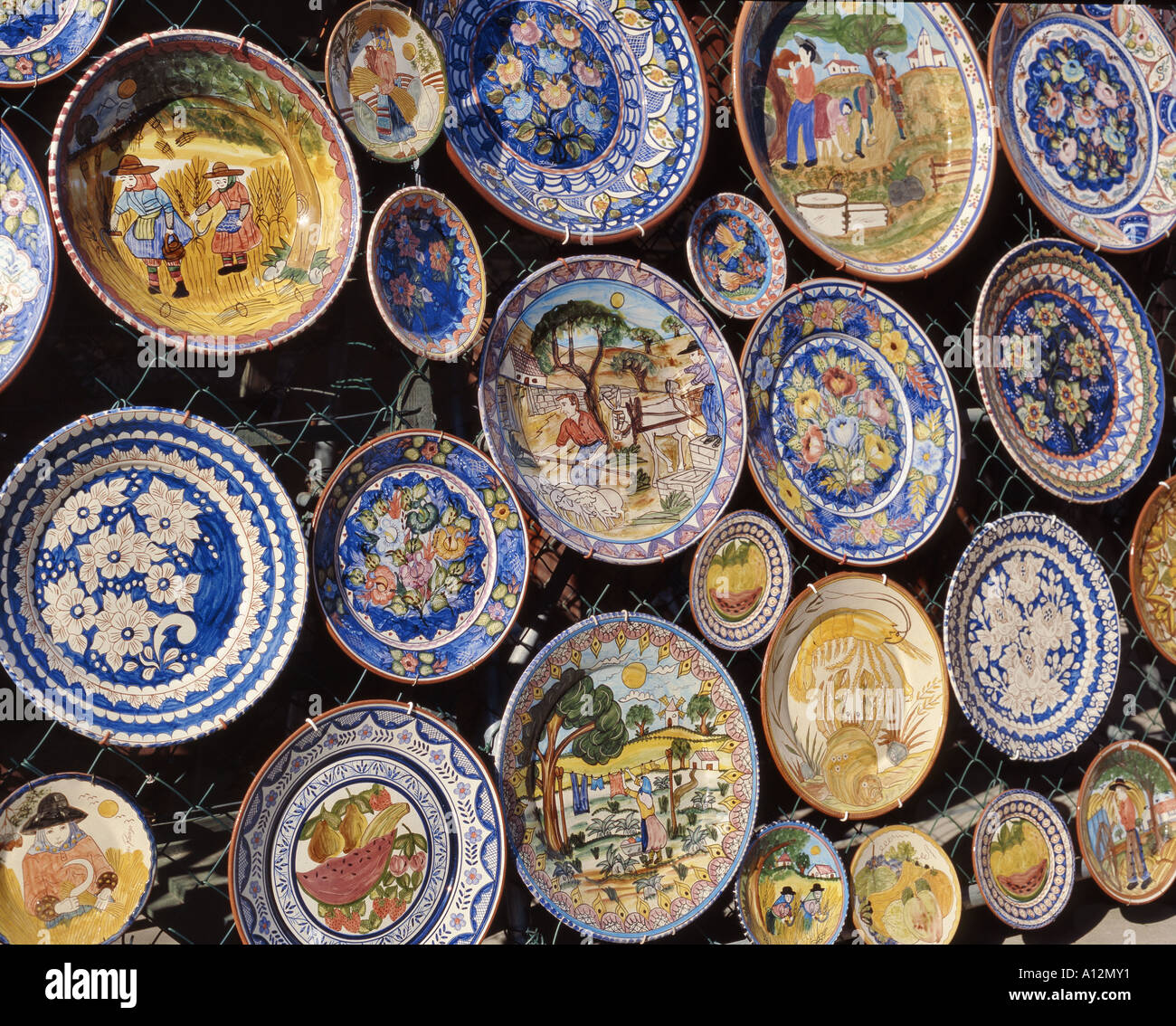 Rustic Hand Painted Pottery On Sale In Monchique Algarve