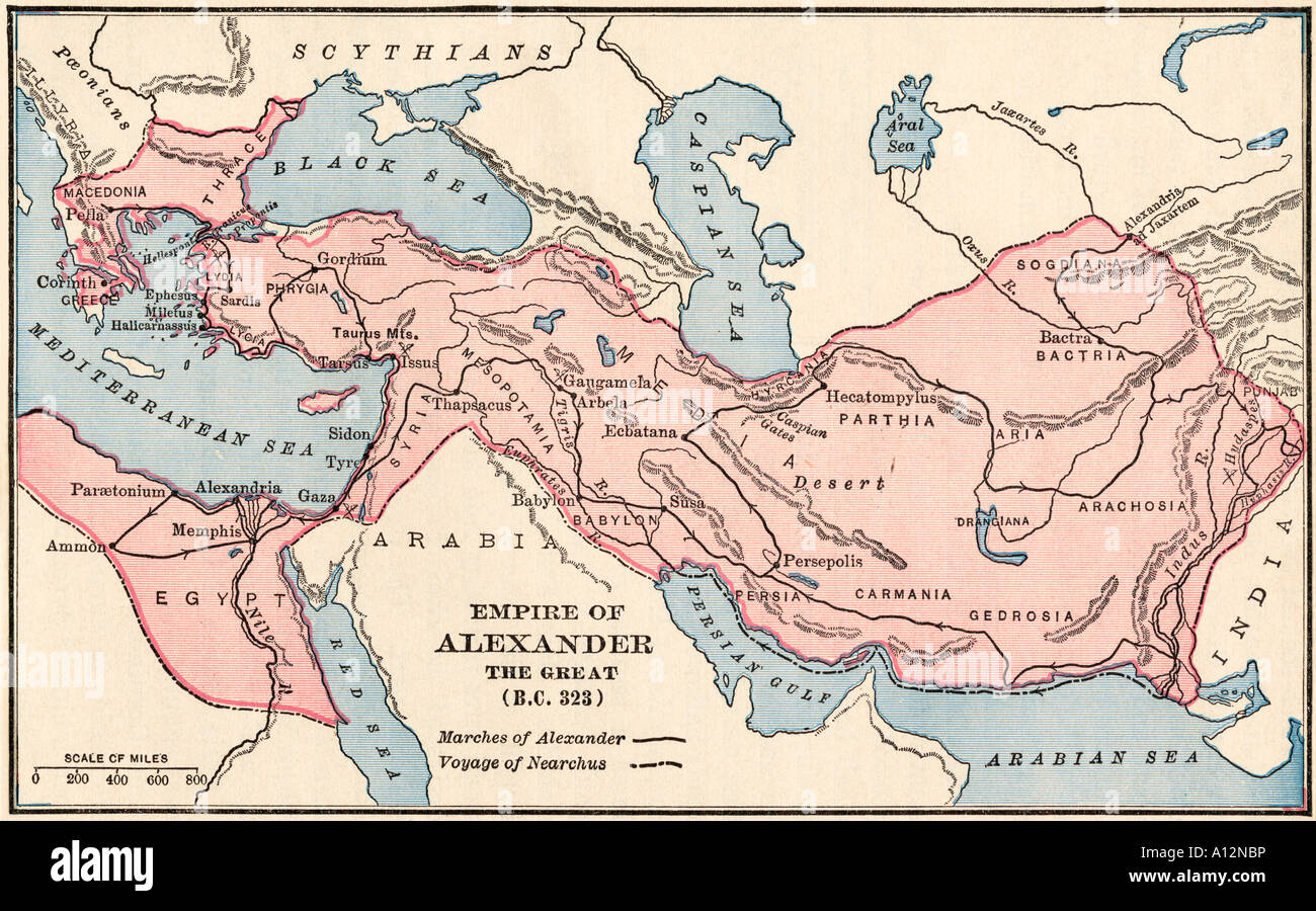 Map of the empire of Alexander the Great in 323 BC. Color lithograph - Stock Image