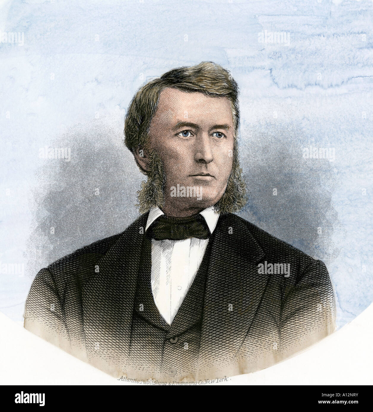 Railroad president Thomas A. Scott. Hand-colored steel engraving - Stock Image