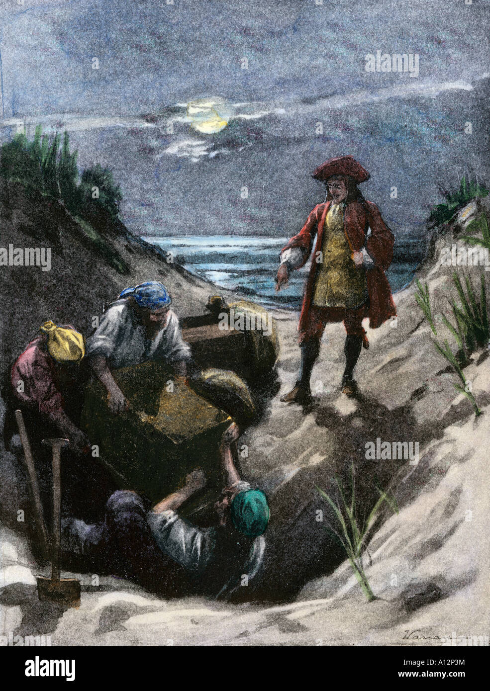Pirate Captain Kidd burying his treasure possibly on Gardiners Island in New York harbor. Hand-colored halftone - Stock Image