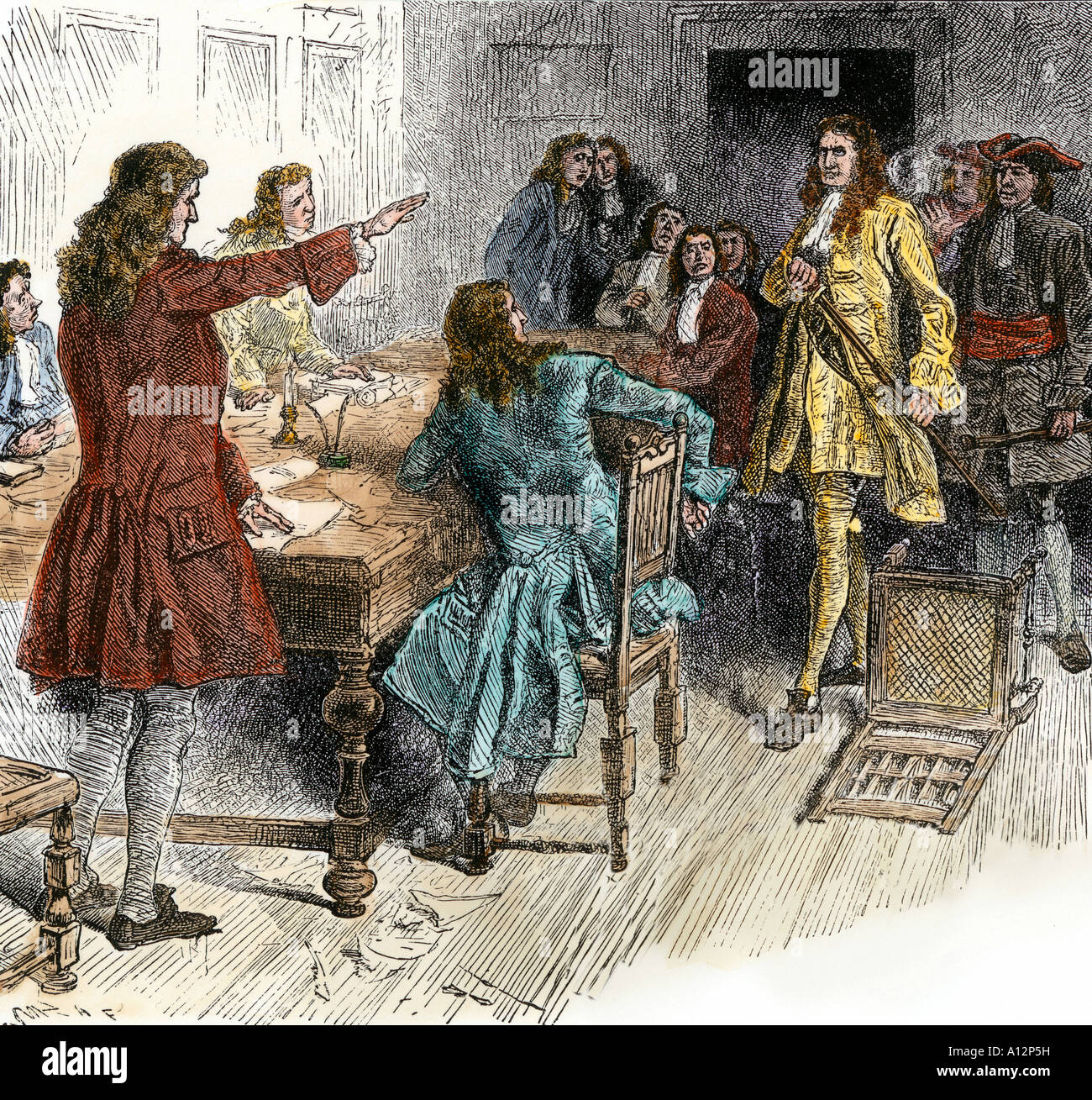 Surrender of Captain Kidd to authorities in New England for piracy 1699. Hand-colored woodcut - Stock Image