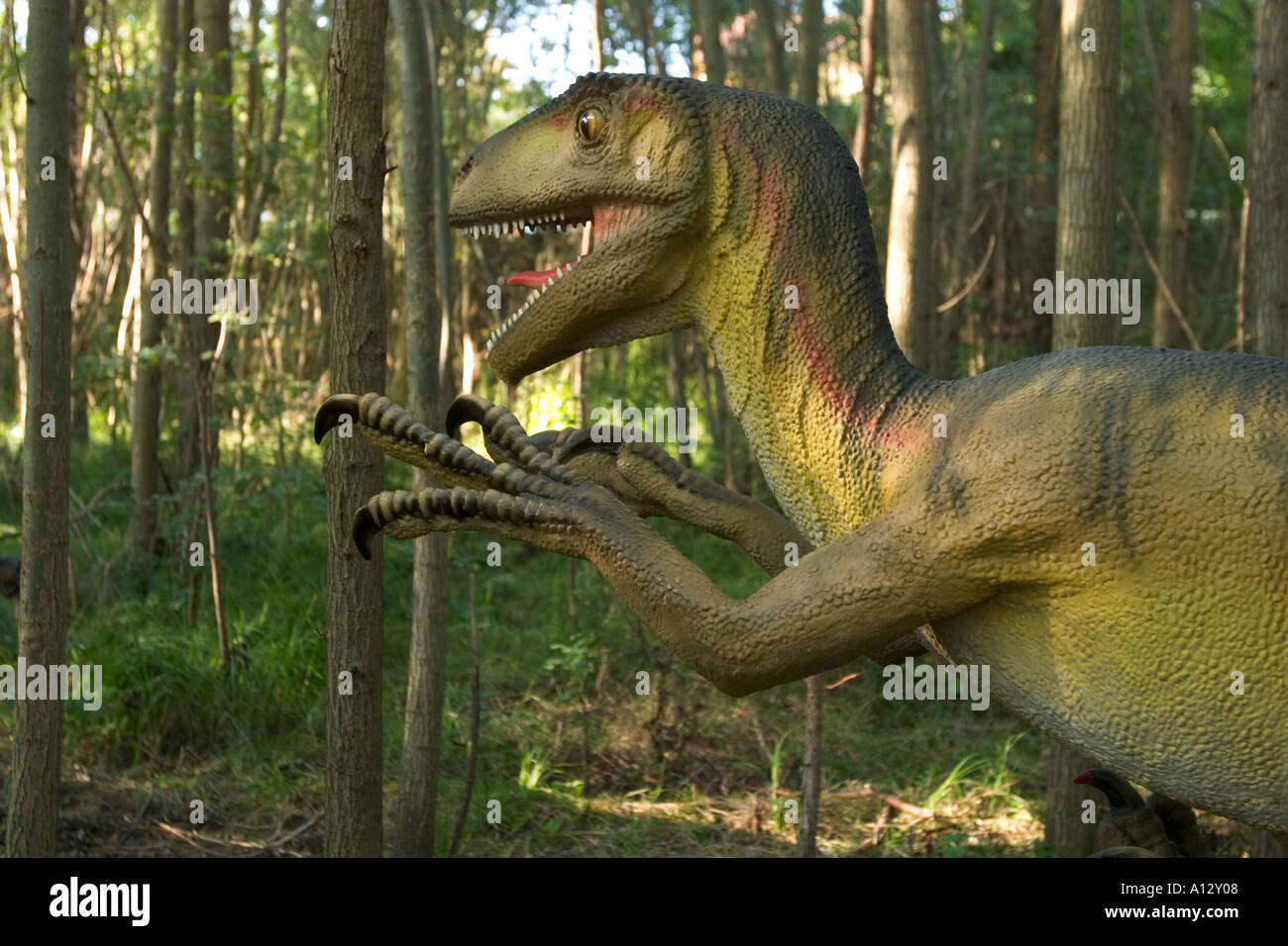 dinosaur Deinonychus Dinopark Fuerth Bavaria Germany - Stock Image