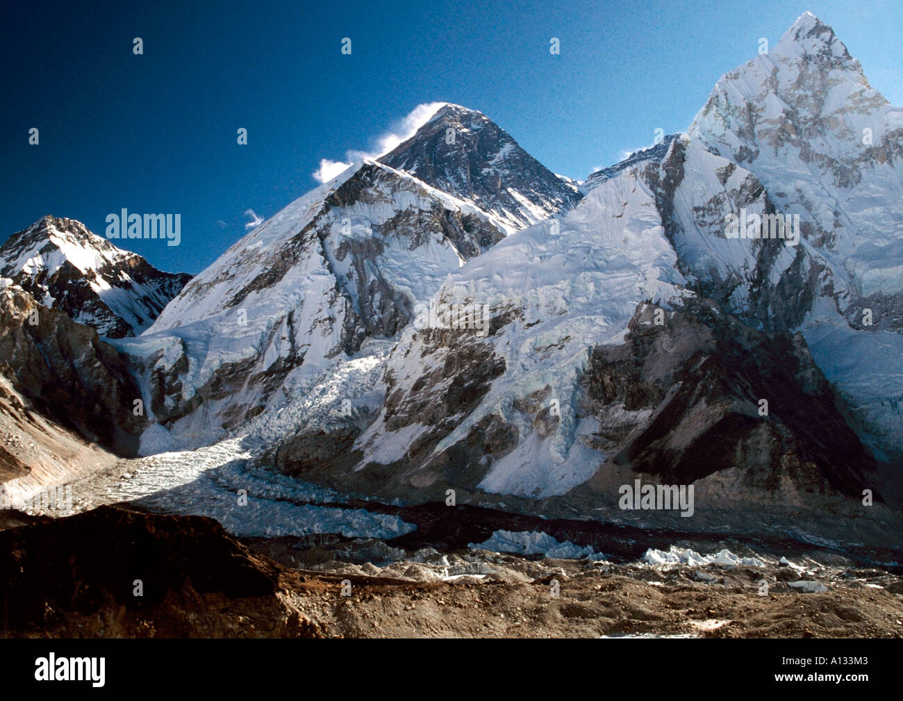 Mount Everest and Nuptse from Kalapatthar in Nepal - Stock Image