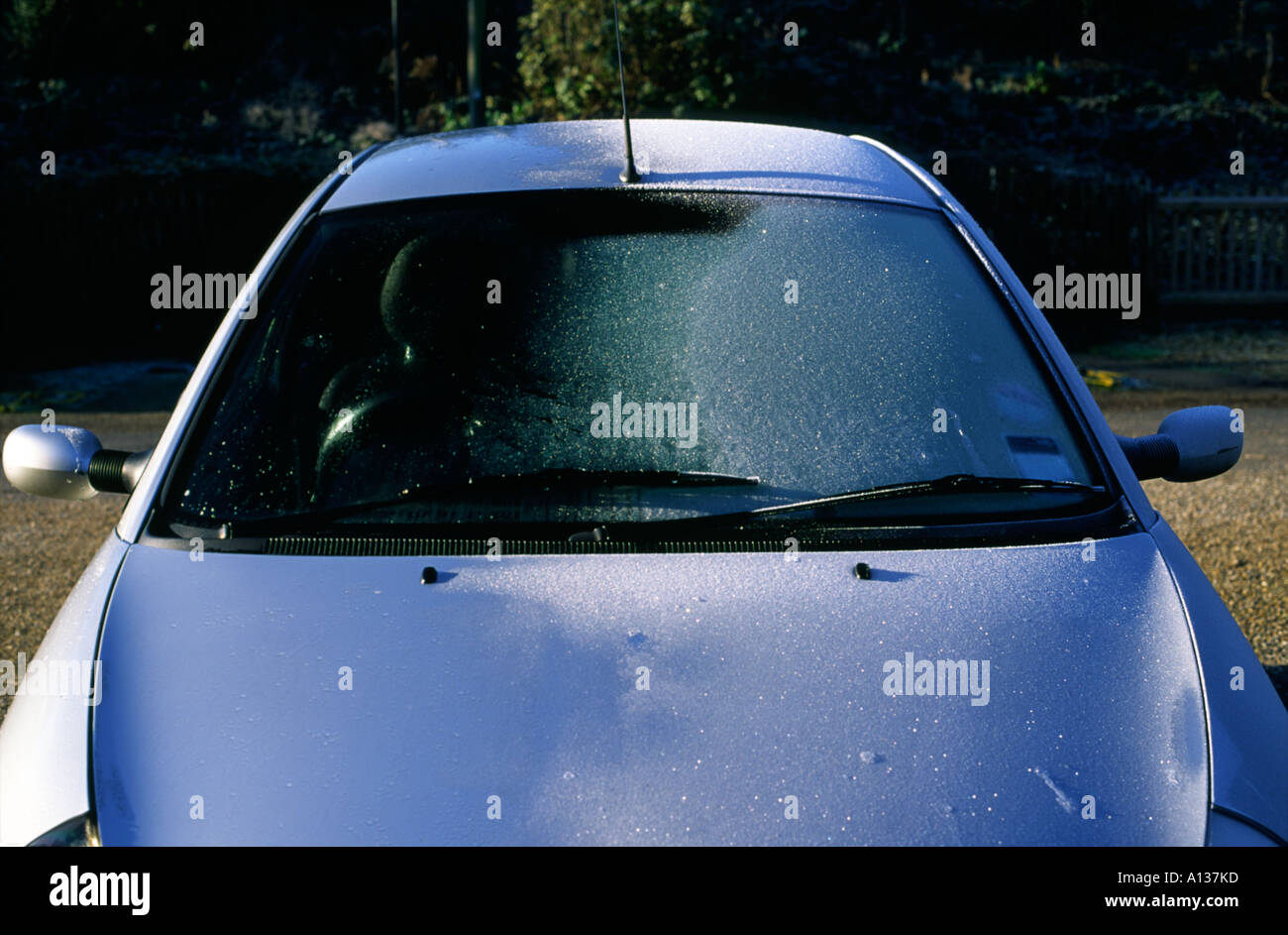 Ford Ka Windscreen Half Covered In November Frost Stock Image
