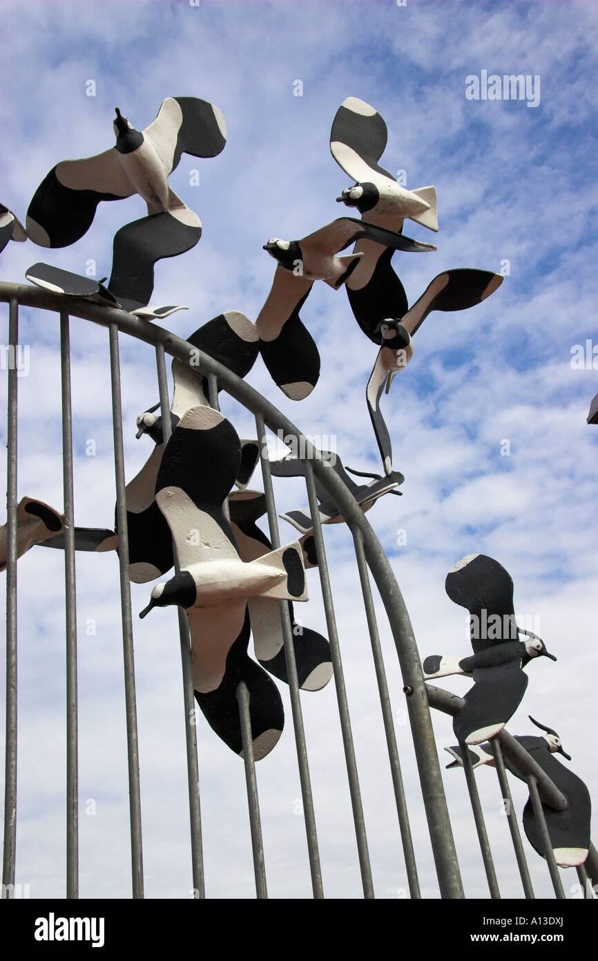Lapwing sculpture, the Tern Project, the promenade, Morecambe, Lancashire, England, UK - Stock Image