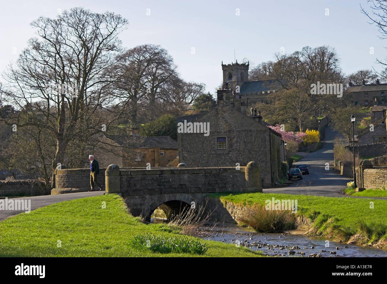 Downham village near Clitheroe, Ribble Valley, Lancashire, England - Stock Image