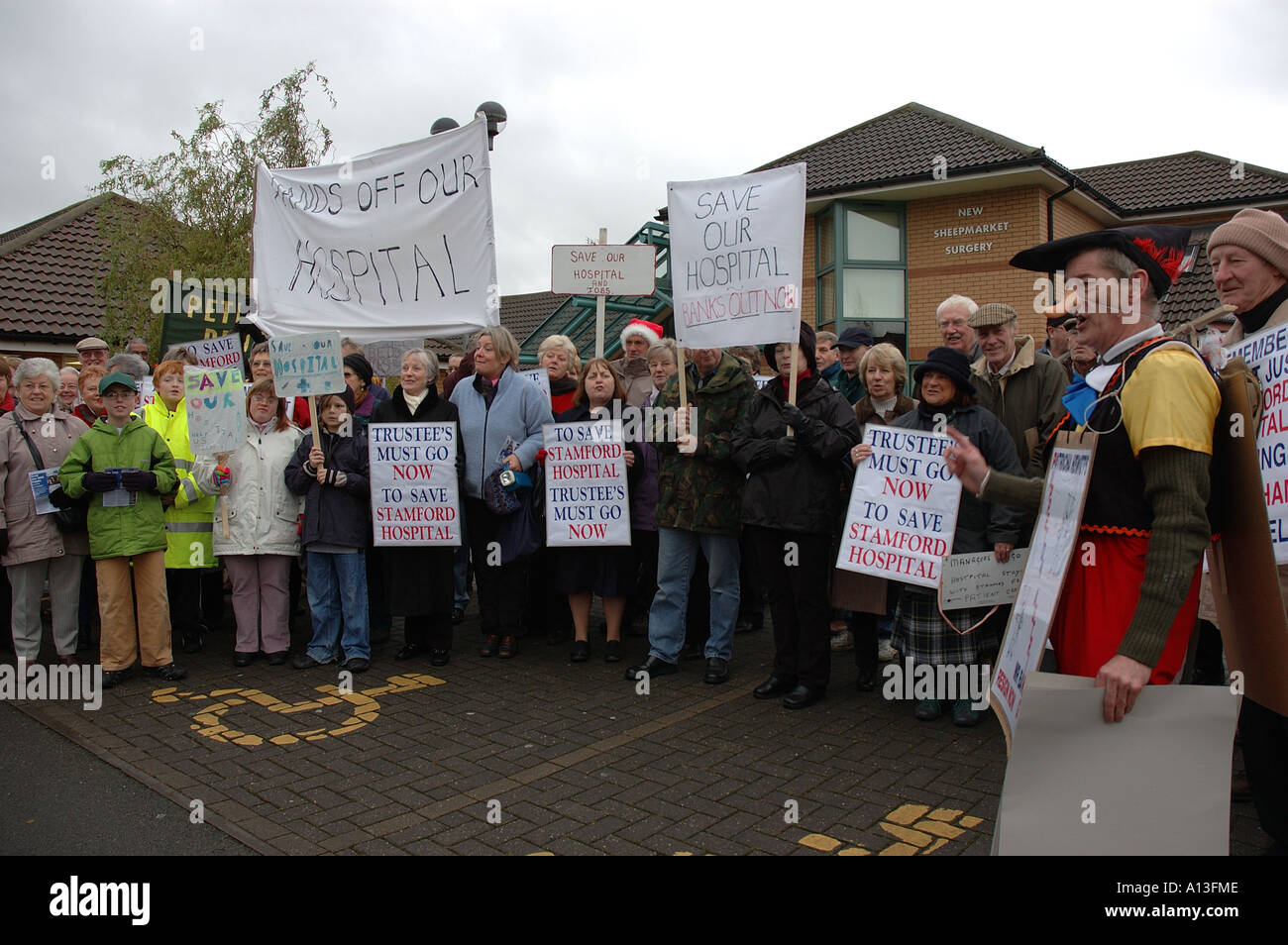 LOCAL HOSPITAL PROTEST - Stock Image