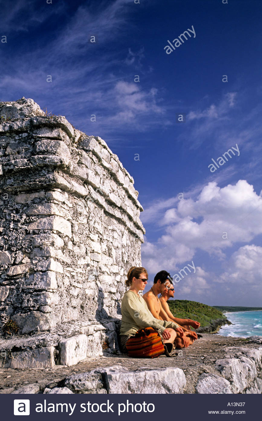 Templo del Dios del Viento or Temple of the Wind God Tulum Mayan ruins Tulum Quintana Roo Mexico - Stock Image