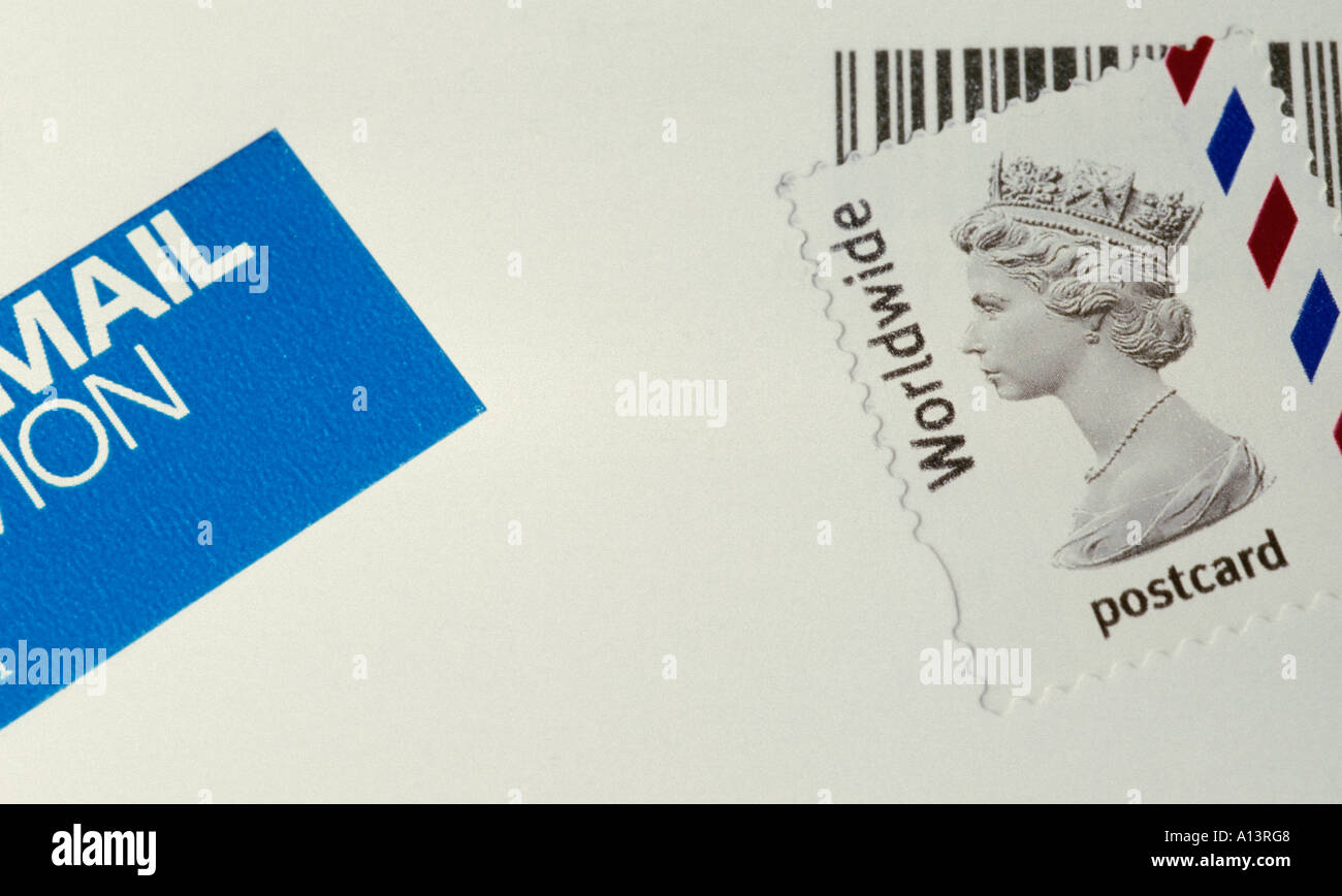 stamp on a postcard - Stock Image