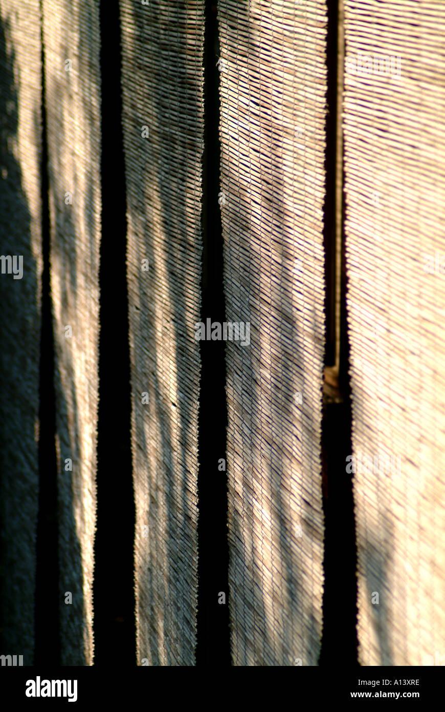 Bamboo sun screens at Zuiho-in within Daitokuji Temple Kyoto Japan - Stock Image