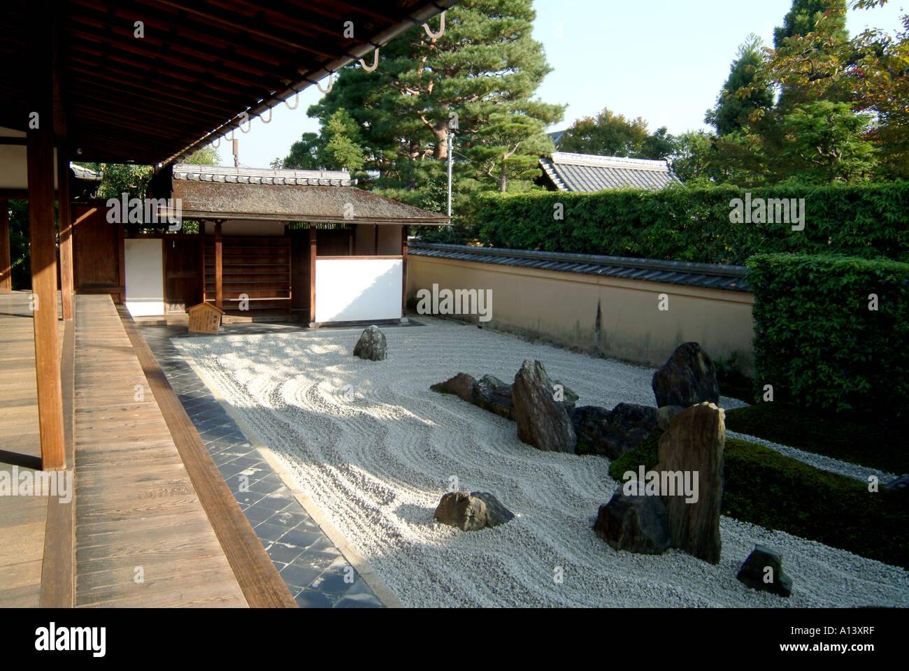 Zen raked gravel garden at Zuiho-in within Daitokuji Temple Kyoto Japan - Stock Image