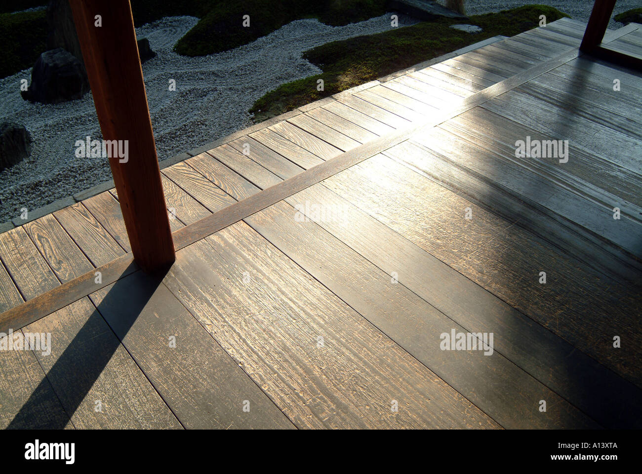 Polished floor at Zuiho-in within Daitokuji Temple Kyoto Japan - Stock Image