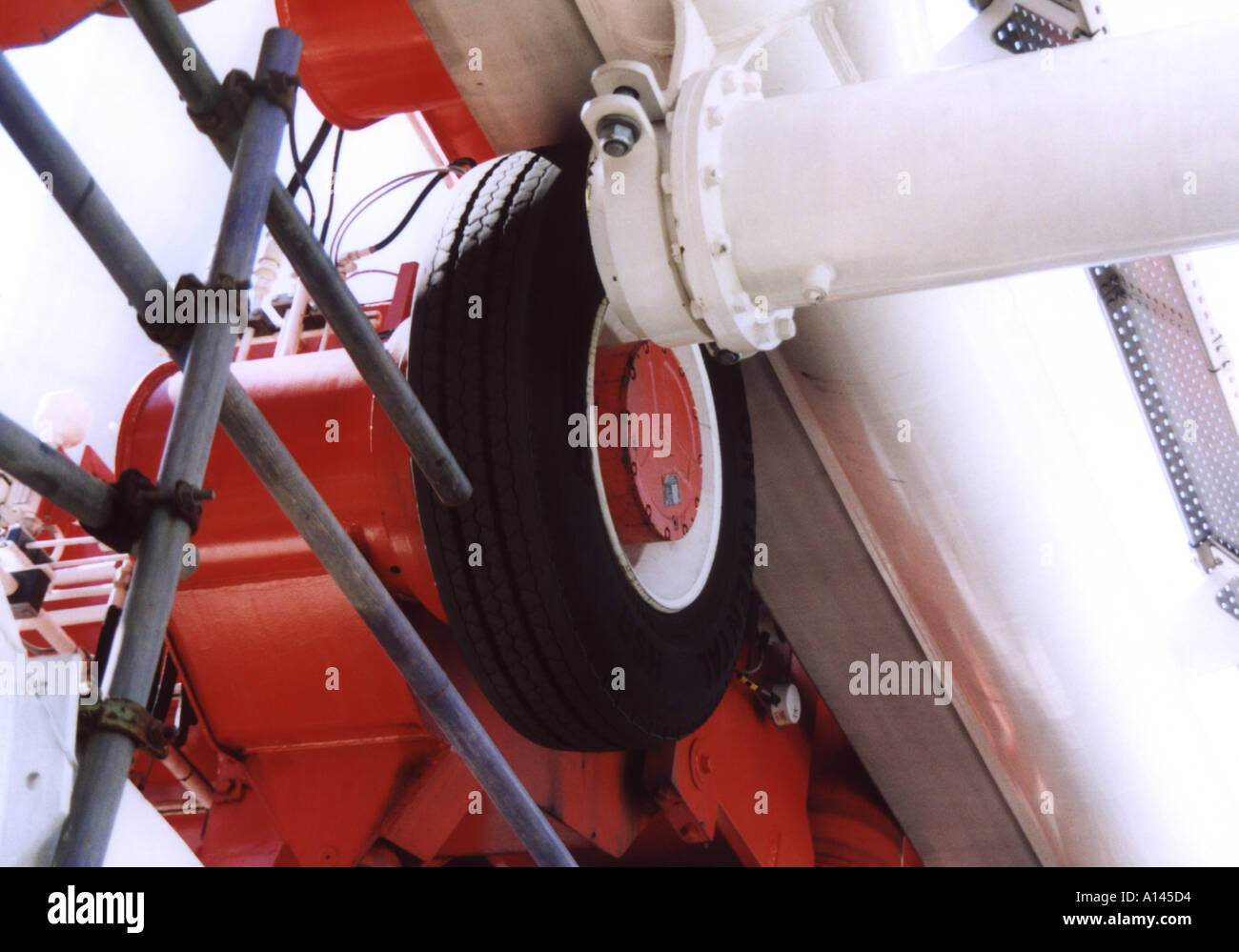 Tyre Propulsion System of The British Airways London Eye, England, United Kingdom - Stock Image
