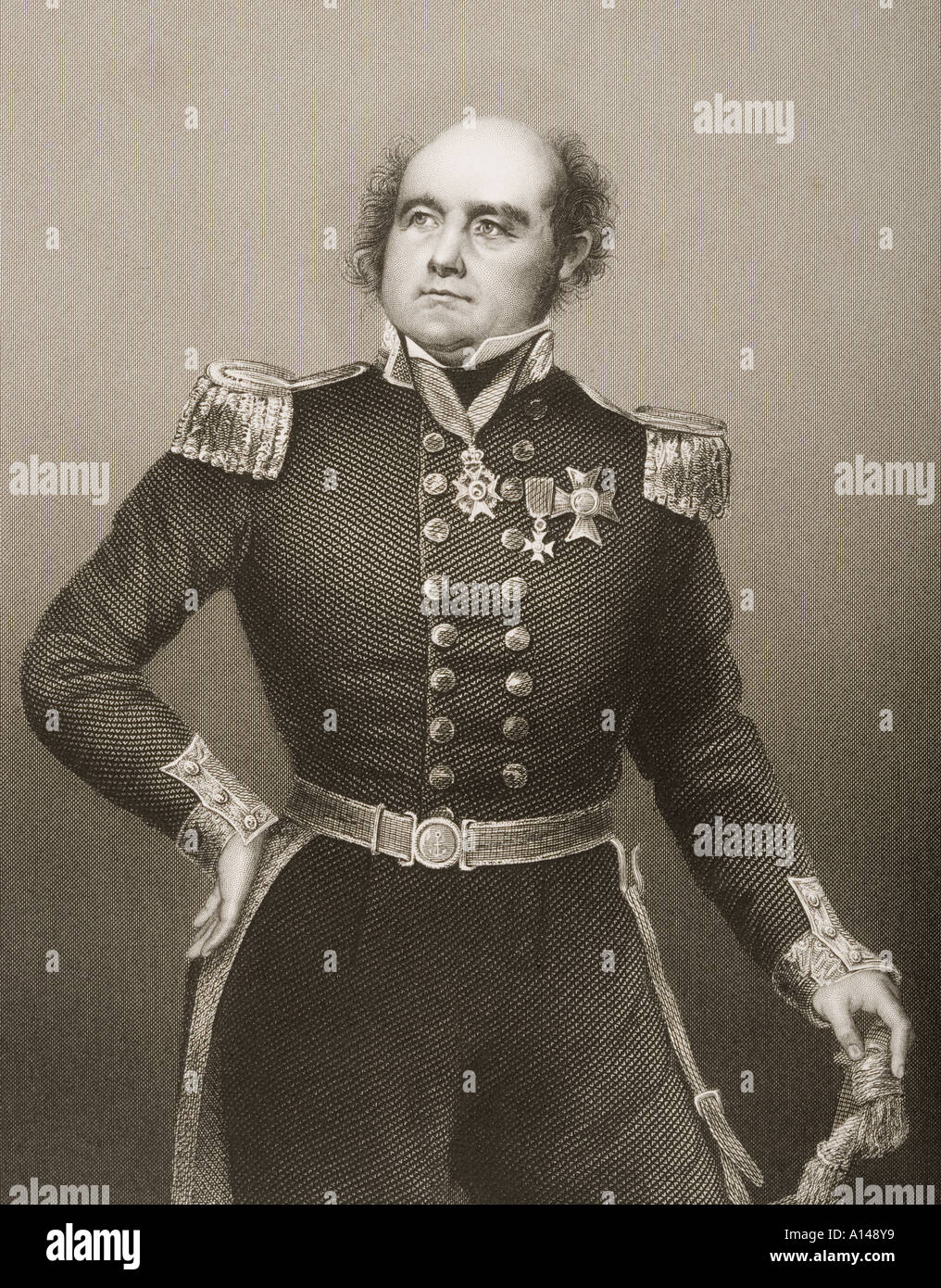 Sir John Franklin, 1786 - 1847.  English Royal Navy officer and explorer of the Arctic. - Stock Image