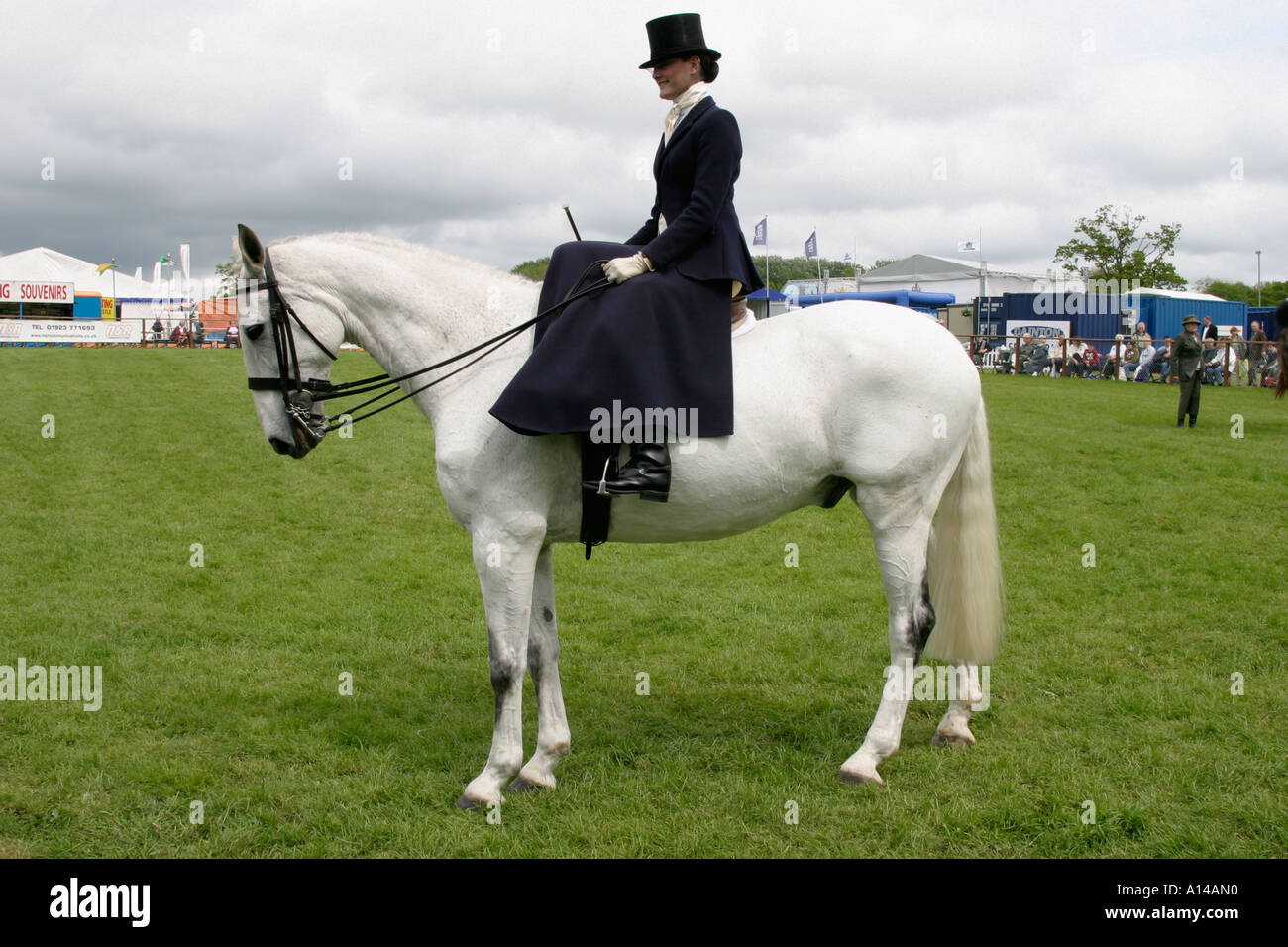 woman riding sidesaddle at Devon County Agricultural show UK - Stock Image