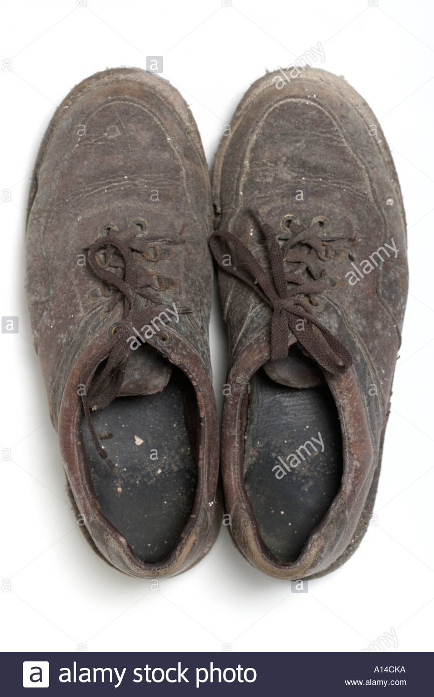 old used shoes - Stock Image