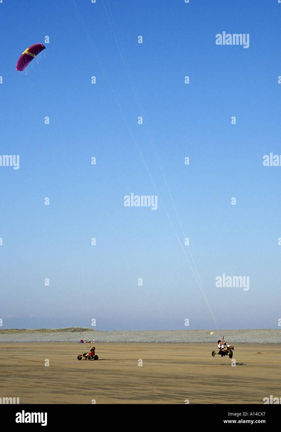 Kite Buggying on beach at Westward Ho North Devon England Stock Photo