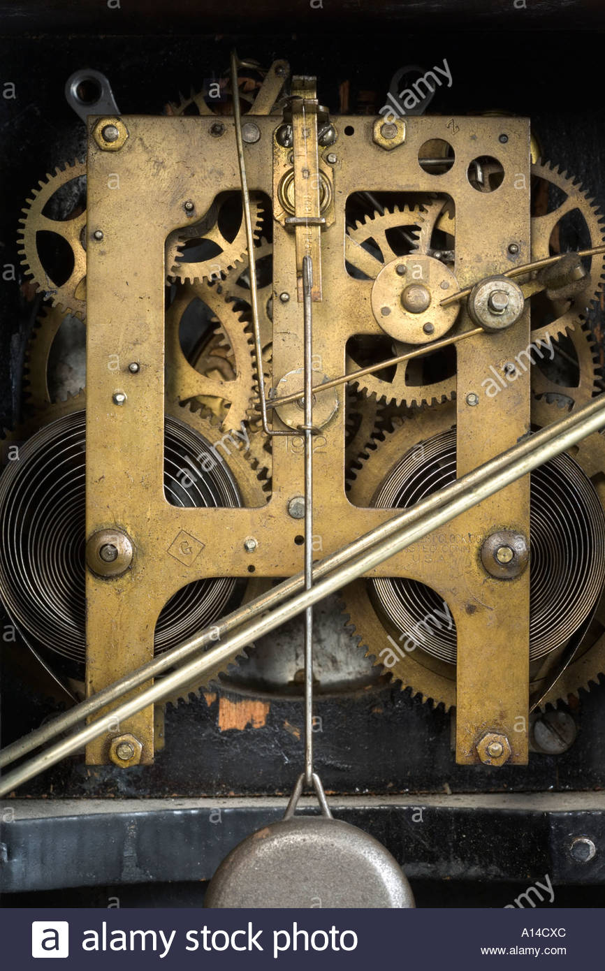 inside of an antique clockwork - Stock Image
