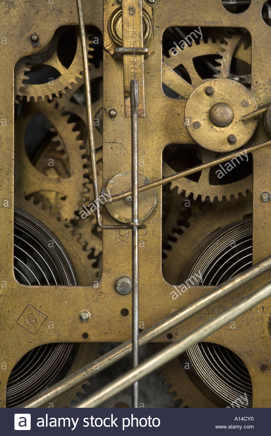 close up of the inside of an antique clockwork - Stock Image