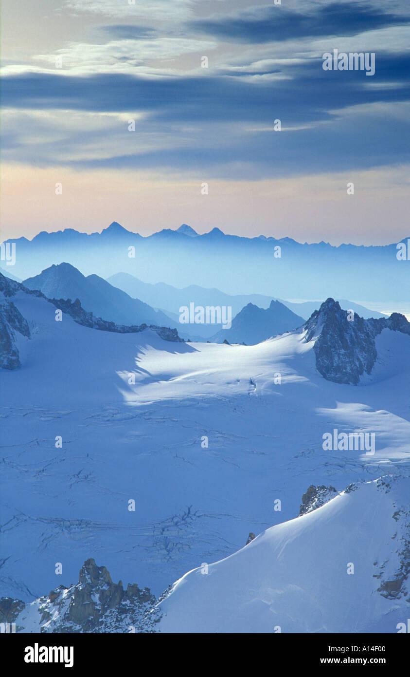 The Alps from Aiguille du Midi Mont Blanc Chamonix Savoie France - Stock Image